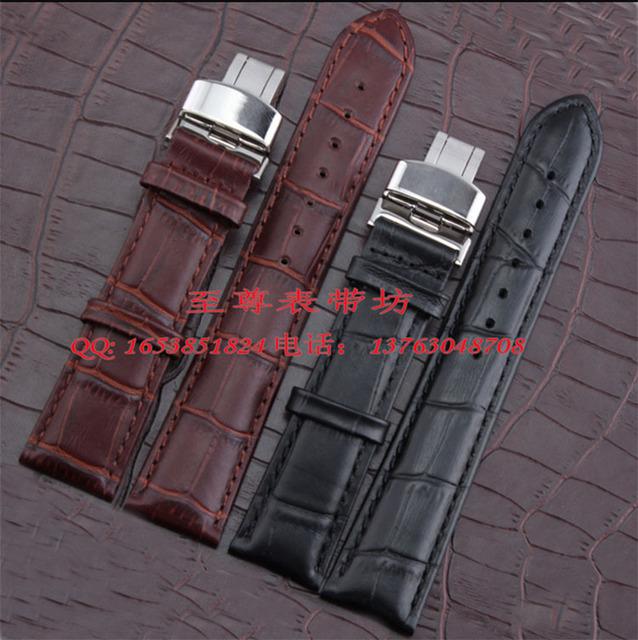 Venda por atacado! correias para relógios de pulso 12 14 15 16 17 18 19 20 21 22 23 24mm Faixa de Relógio de Couro Marrom Preto Jacaré Grain