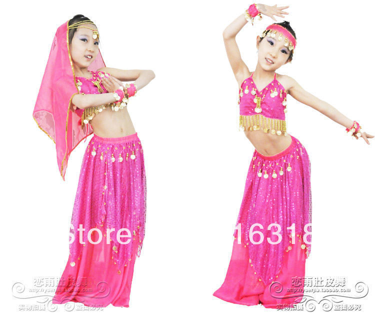 Children Multicolor Belly Dance Wear Set (Top,Coinskirt, Veil,Bracelets) <font><b>Indian</b></font> <font><b>Sari</b></font> Costumes Stage Clothing for <font><b>Kids</b></font> image