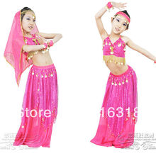Children Multicolor Belly Dance Wear Set (Top,Coinskirt, Vei