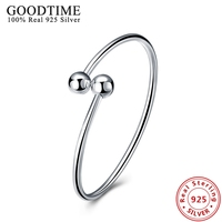 Authentic 925 Sterling Silver Simple Style Jewelry Pure Silver 925 Bracelets Bangles For Women Bead Ball