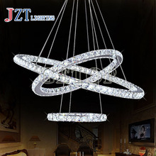 J best price crystal ceiling light Modern round ring light ring circular LED chandelier light hot sale fashion droplights