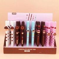 40 piunids/lote bolígrafos de galletas de Chocolate Kawaii bolígrafo de Gel negro bonito Papelería para escritura de estudiantes bolígrafos regalo oficina escolar suministros