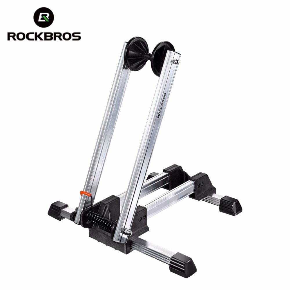ROCKBROS Bike Bicycle Folding Floor Parking Rack Aluminum Alloy Foldable Bicycle Stop Rack Parking Mountain Bike Cycling Parking partol black car roof rack cross bars roof luggage carrier cargo boxes bike rack 45kg 100lbs for honda pilot 2013 2014 2015