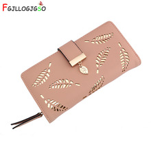 цены на FGJLLOGJGSO 2018 Women Wallet Female Long Purse Gold Hollow Leaves Pouch Handbag Lady Coin Purse Card Holders Portefeuille Femme  в интернет-магазинах