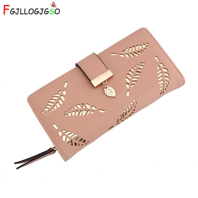FGJLLOGJGSO 2019 Women Wallet Female Long Purse Gold Hollow Leaves Pouch Handbag Lady Coin Card Holders Portefeuille Femme