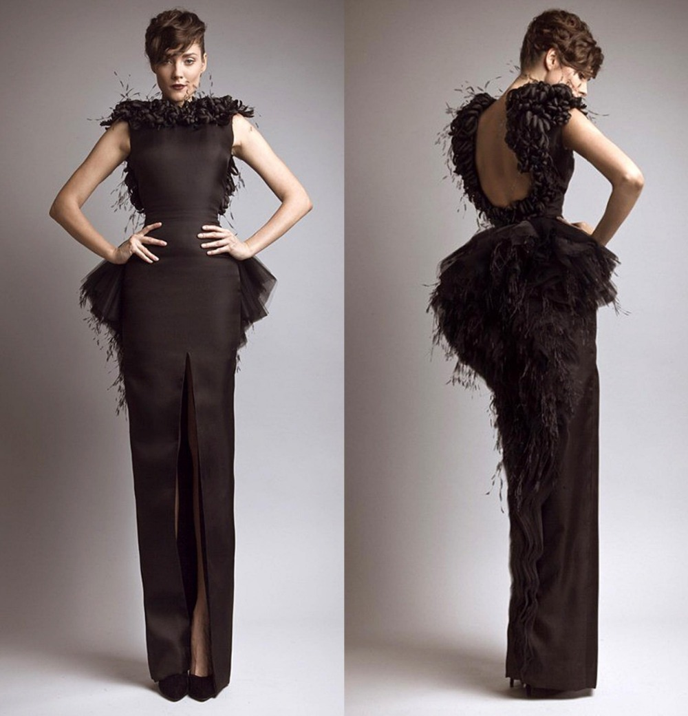 Black Evening Dresses with Feathers