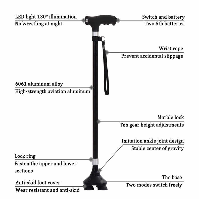 New Safety Old Man Walking Stick Telescopic Canes Crutch Staff Aged T Handle Pole Folding Grip Hiking Elderly Walk Mens Baston