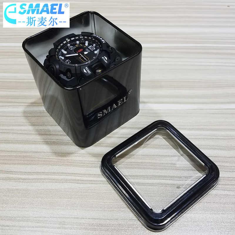 SMAEL 1 قطعة صندوق هدية الأصلي للرياضة ساعات الرجال اكسسوارات الساعة LED ساعة رقمية صندوق حماية Sqaure صناديق 12 ساعة مخزن
