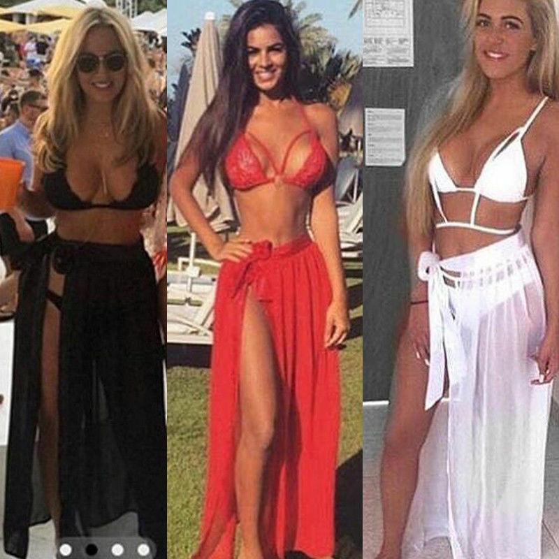 2020 Women SwimWear Cover Up Sheer Beach Mini Wrap Skirt Sarong Pareo Long Maxi Skirt Side Split Skirt Solid Transparent Chiffon