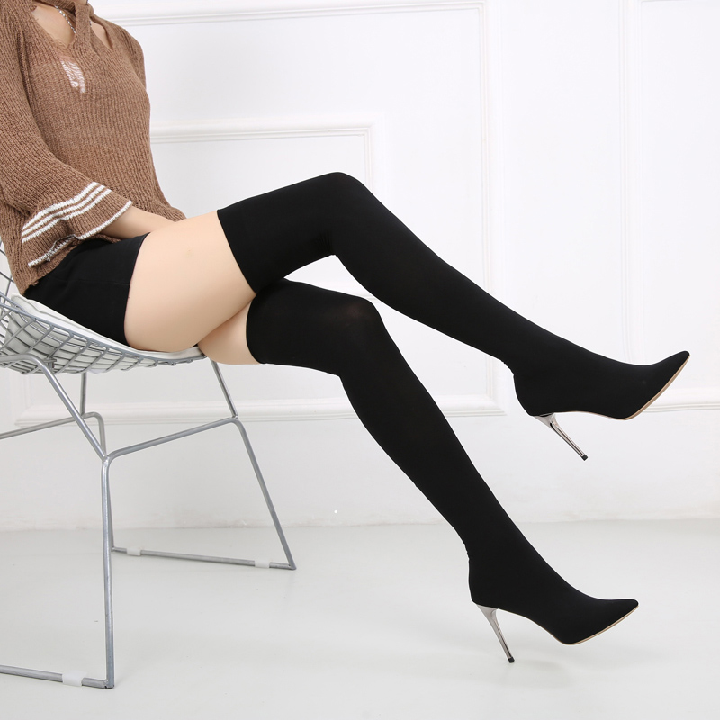 Autumn 2018 New Over The Knee Boots Women Elastic Sock Thigh High Boot Ladies Stretch Fabric Pointed Toe High Heels Shoes WB1393 black stretch fabric suede over the knee open toe knit boots cut out heel thigh high boots in beige knit elastic sock long boots