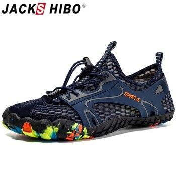 aaa11af1a JACKSHIBO hombres zapatos de agua Zapatos de deporte al aire libre piscina  zapatos mar descalzos, zapatillas de deporte transpirables arriba Aqua surf  buceo ...