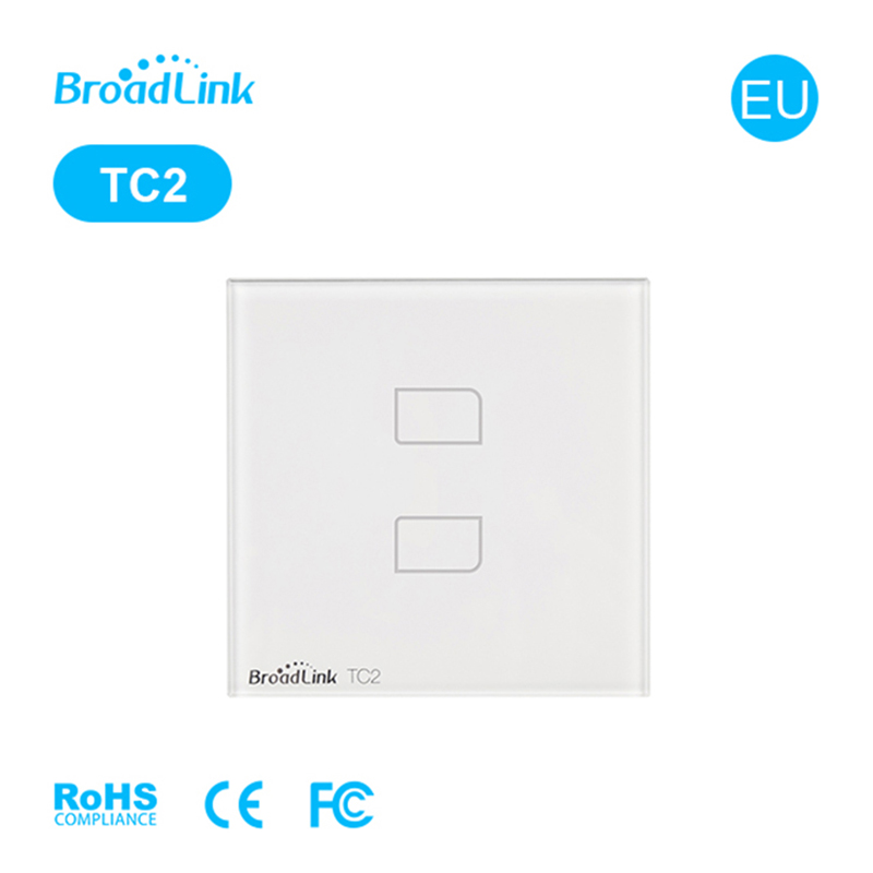 Broadlink EU Standard TC2 Wireless 2 Gang Remote Control Wifi Wall Light Touch Screen Switch 110V-240V IOS Android Smart Home original broadlink tc2 us tc2 touching 1gang panel wifi switch ios android wireless remote light controller 170v 240v smart home