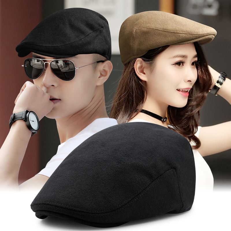 Beckyruiwu Beret-Hat Newsboy-Caps Flat-Ivy-Cap Wool Male Winter Women Causal Solid Outdoor