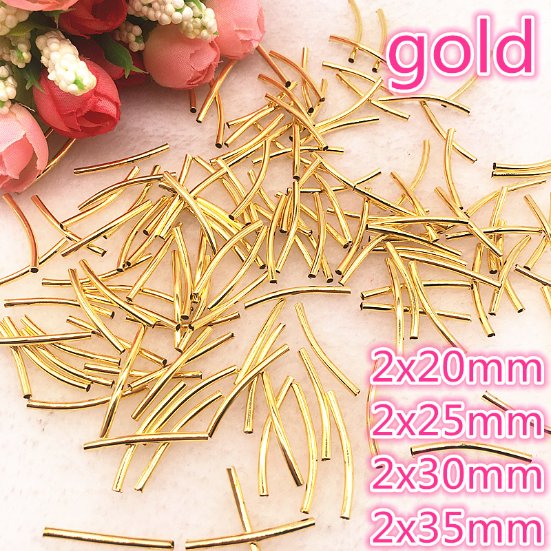 50pcs/lot 20/25/30/35mm Jewelry Necklace Connectors Elbow Tube Hollow Copper Pure DIY Hand Bracelet Jewelry Accessories