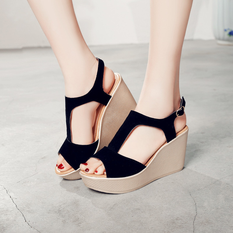 LAKESHI Wedges Sandals Platform Shoes