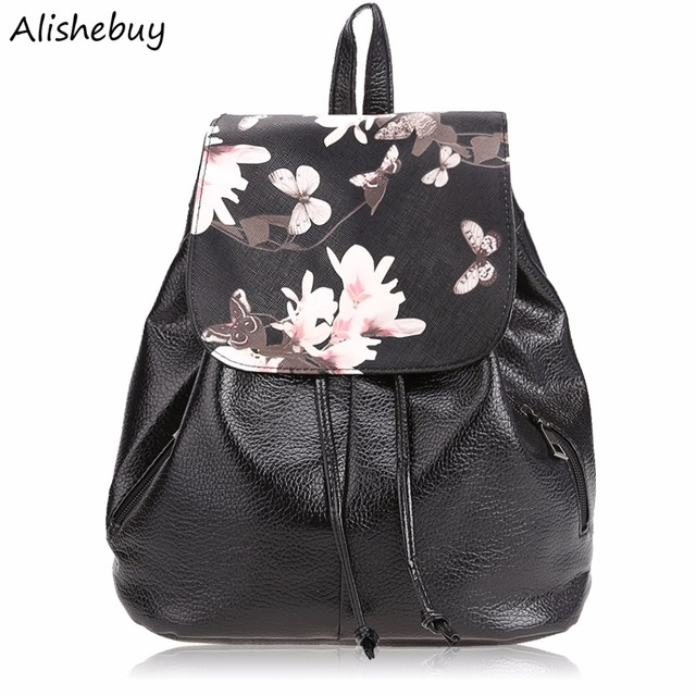 1a9e47c9cb54 Fashion Women Floral Print Cover Leather Backpacks School Bags Teenage  Girls Travel Small Backpack Mochila Feminina
