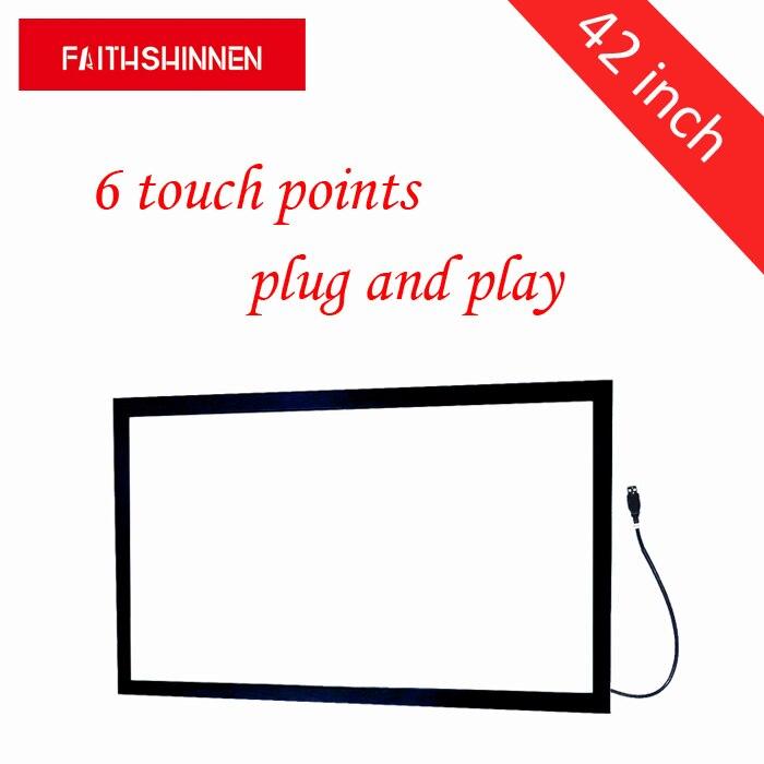 Livraison Gratuite! 42 pouce ir écran tactile cadre panel kit 6 tactile points superposition tv cadre tactile sans verre
