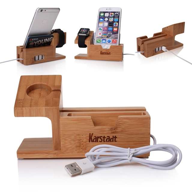 Madera De bambú con $ number puertos USB Cargador de Soporte De Carga Dock Station Soporte titular para apple i watch 6 6 s plus/para huawei relojes p8