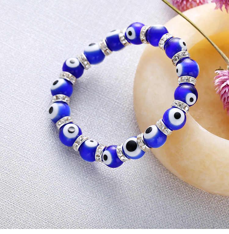 Vintage Azul Fatima Hamsa Evil Eye Pedra Strand Pulseira Para As Mulheres Homens Crystal Glass Beads Elastic Presente Da Jóia Turca