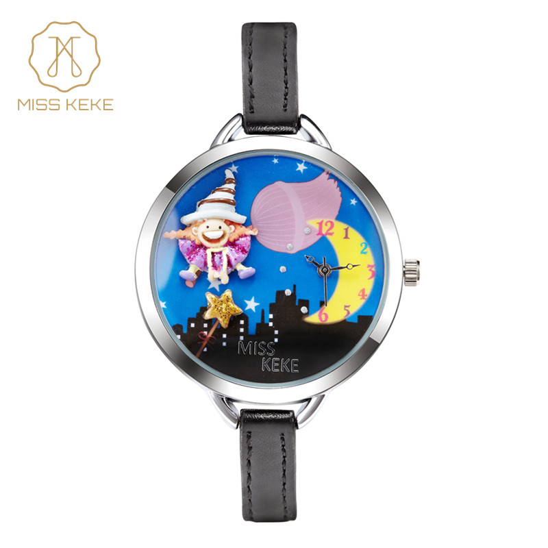 Fröken Keke 2019 Mode Clay Söta 3D Moon Klockor Armband Barn Kids Girl Watch Geneva Leather Quartz Armbandsur klocka 854