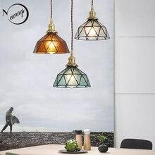 Vintage E27 led el yapımı pirinç lamba kafa cam abajur kolye işıkları mutfak yatak odası başucu koridor restoran asılı lamba