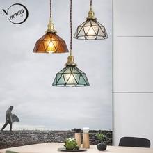 Vintage E27 led handmade brass lamp head glass lampshade pendant lights kitchen bedroom bedside aisle restaurant hanging lamp