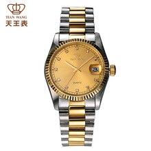 Топ-Знаменитый Тянь Ван часы СС и Золото в сочетании цветов GS3689TP/D благородный джентльмен роскоши глядя часы с датой окна