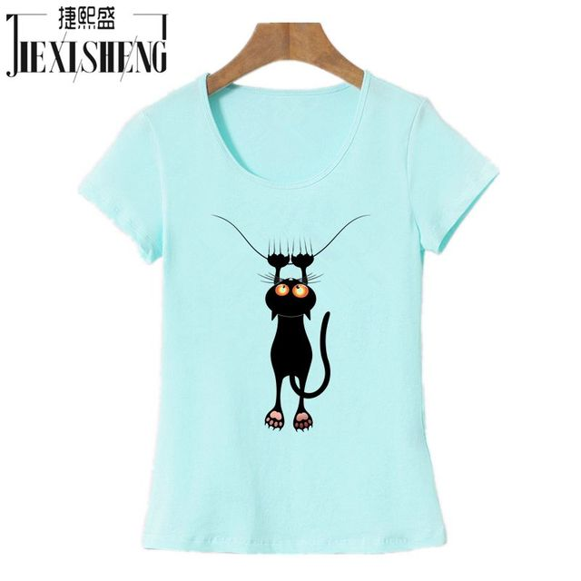 Cotton 3D Cat Print and Short Sleeve O-neck Vogue tshirt