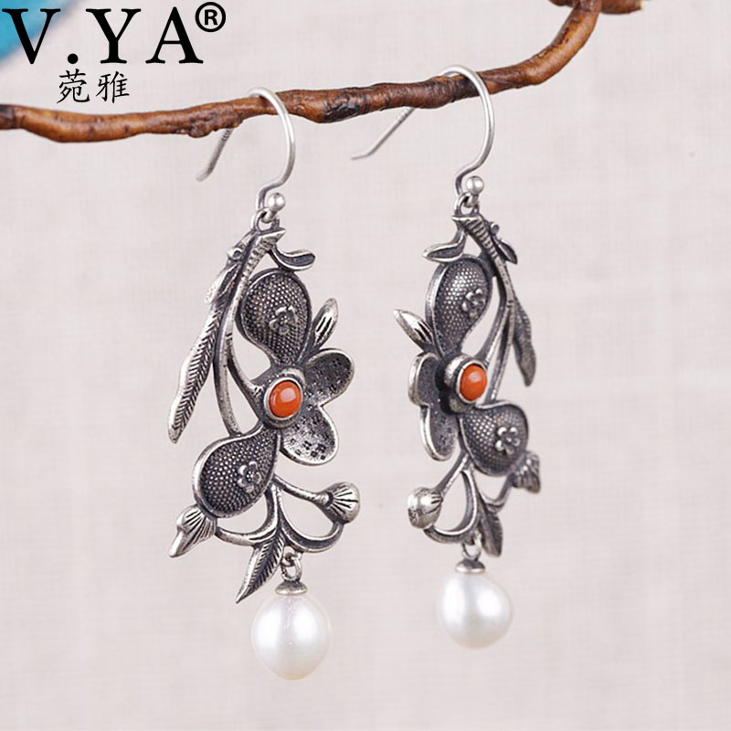 V.YA 925 Silver Vintage Ethnic Flowers Dangle Earrings Elegant Pearl Retro Earrings Nature Silver Ethnic Earrings For Women