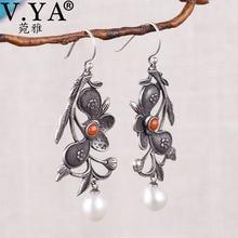 V. YA 925 Серебряные винтажные этнические серьги-подвески с цветами элегантные жемчужные ретро серьги натуральные серебряные этнические серьги для женщин