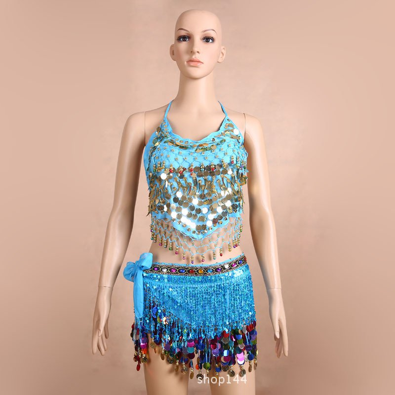 New Belly Dance Bandage Top Waist and Chain Self-adjustable Dance Costume Heavy-duty Fringed Sequins Suit Two Colours