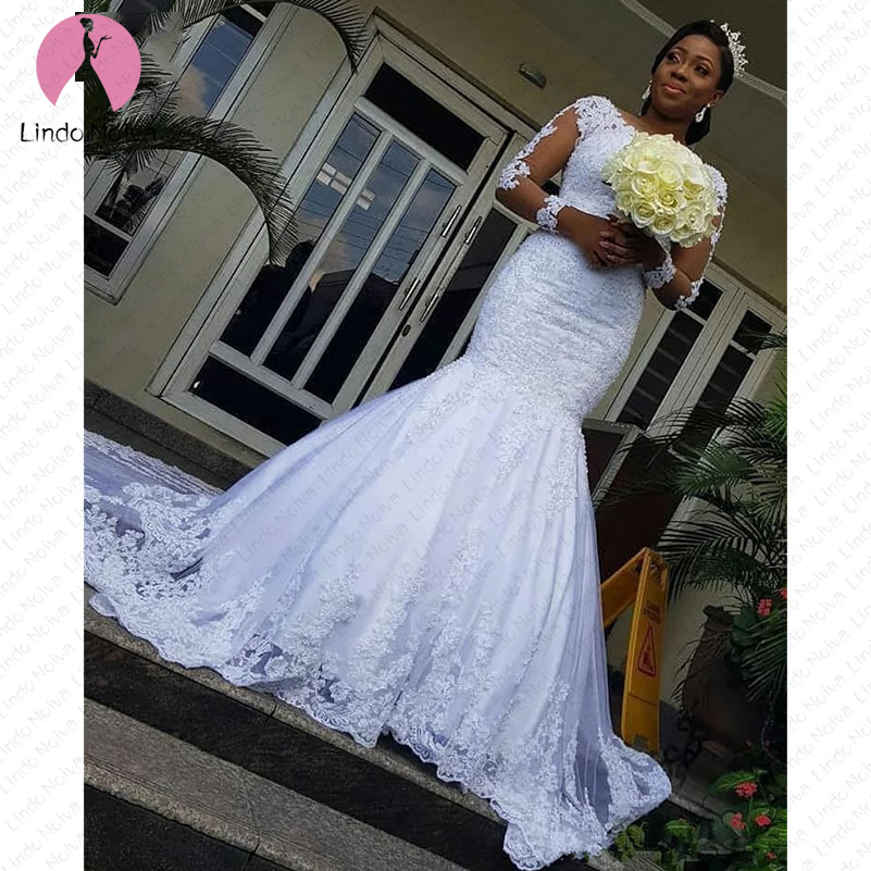 Custom Made Vestidos De Novia Latest Mermaid Scoop Wedding Dresses 2019 Long Sleeves Appliques Bridal Wedding Gowns Bride Dress