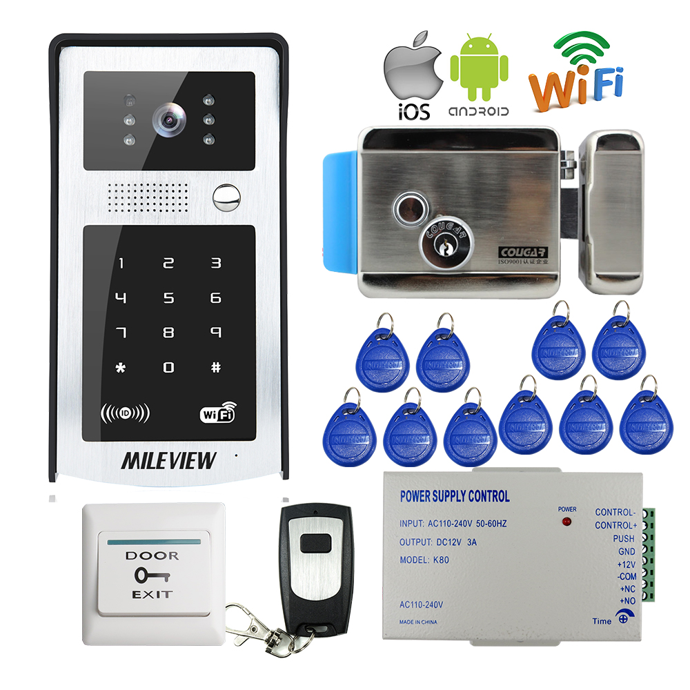 FREE SHIPPING RFID Code Keypad Wifi 720P Video Door Phone Intercom Outdoor Bell for Android IOS Phone + Electric Control Lock rfid reader wifi 720p hd video doorbell intercom phone camera for android ios phone with electric strike lock for door access