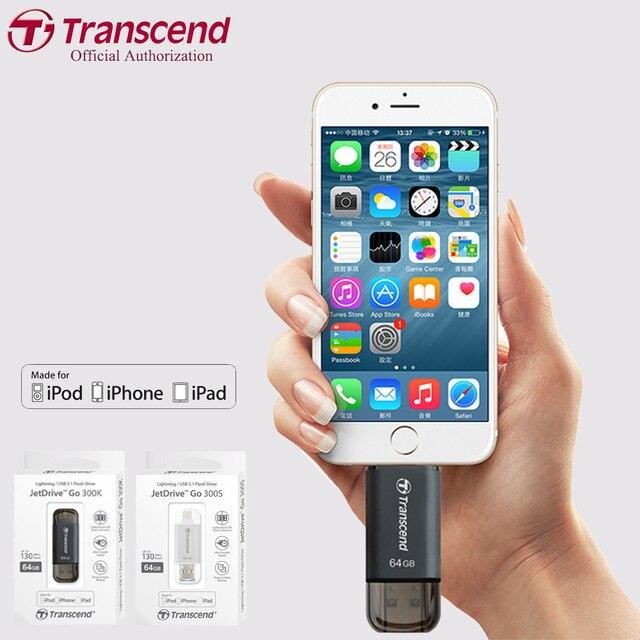 Transcend JetDrive 300 USB Flash Drive For iPhone iPad iPod USB 3.1 OTG Pen Drive Business Phone Pen Drive 128GB 64GB 32GB