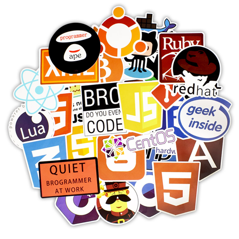 <font><b>50</b></font> PCS Programming Language <font><b>Sticker</b></font> Java Html APP Software Program <font><b>Stickers</b></font> for Geek DIY Laptop Macbook Computer Phone PS4 image