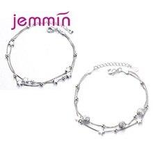 925 пробы Серебряный Очаровательный браслет для женщин и девочек на свадьбу, помолвка, милый романтический стиль, форма звезды, лучший подарок для любимой