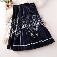 AreMoMuWha2019 Summer New Fashion Wavy Letters Printed Pleated Skirt Female Tide Long Section A Word Skirt Big Swing SkirtQX1111