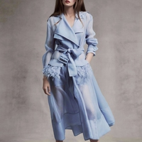Women Runway Designer Windbreaker Dress Summer Long Sleeve Feathers Organza Madi Sexy Party Dresses Clothes 2019 White/Blue