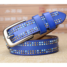 New color handmade Colored rivet leather womens belt Fashion Royal blue ladies High quality for female jeans