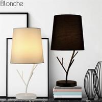 Modern Iron Branch Desk Lamp Fabric Lampshade Table Light LED Lights for Living Room Bedroom Bedside Study Home Lighting Sconces