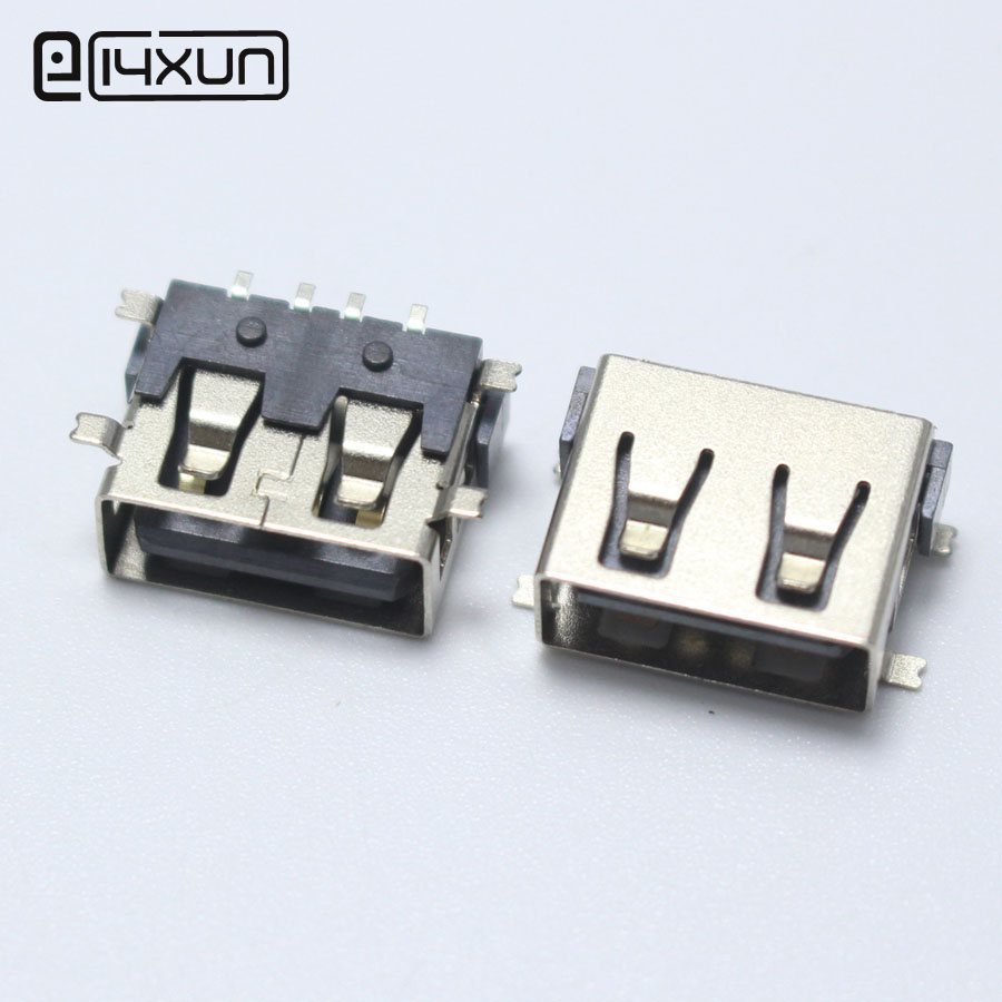 4PCS SMD USB Type A Female Jack 4PIN AF 10.0 PCB Mount Socket Connector Black Flat Edge DIY Repair Phone Toy Parts