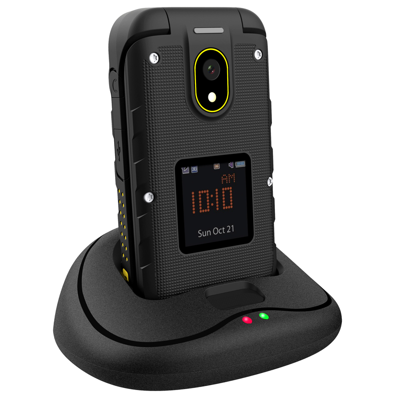 Ioutdoor F2 trois-prévention caractéristique mince Flip robuste étanche double affichage Station d'accueil SOS torche LED téléphone Mobile Senior