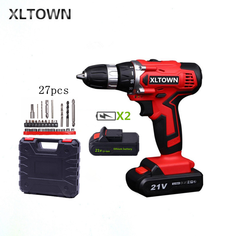 XLTOWN New 21v electric screwdriver rechargeable lithium battery electric screwdriver cordless drill Power tools drill bits xltown 21v electric screwdriver multifunction rechargeable lithium drill electric household cordless electric drill power tools