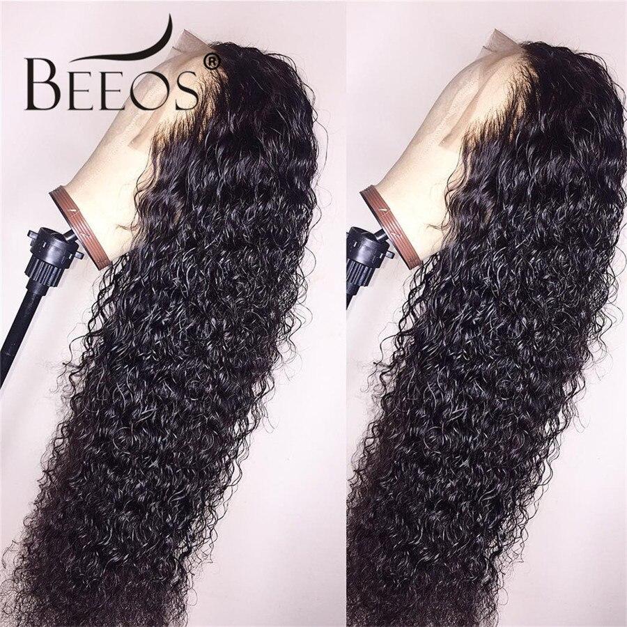 Beeos бразильские волосы Remy кудрявые 13*6 человеческие волосы на кружеве обесцвеченные парики вида шишка пучок глубокий распорный парик предварительно сорвал с волосами младенца для женщин - 4
