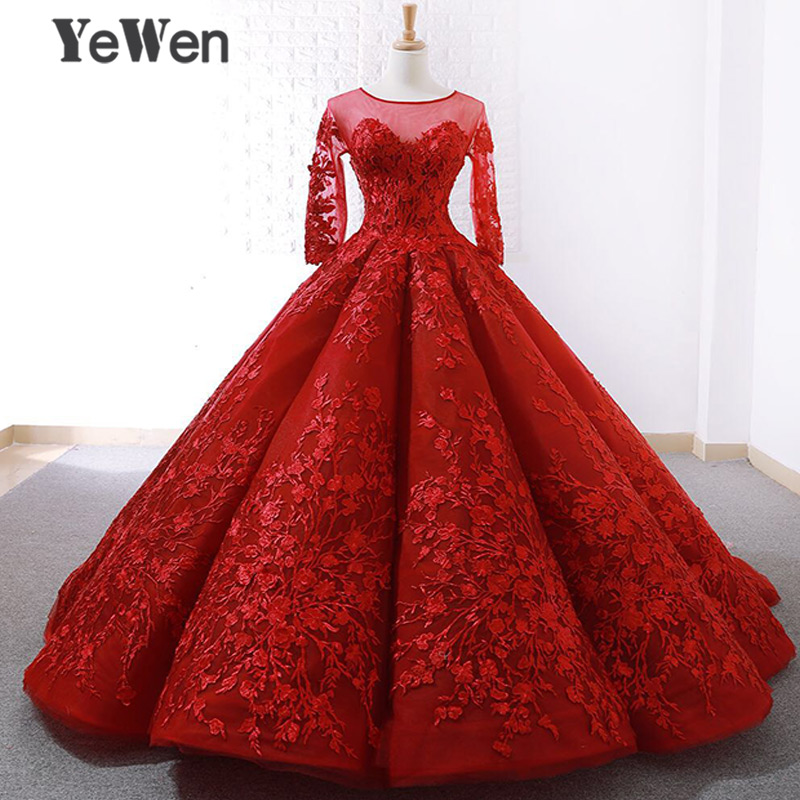 YeWen Red Long Sleeves Vintage Sexy Evening Dresses 2018 Fashion Ball Gown Lace up Bride Wedding Gowns saudi arabia Real Photo