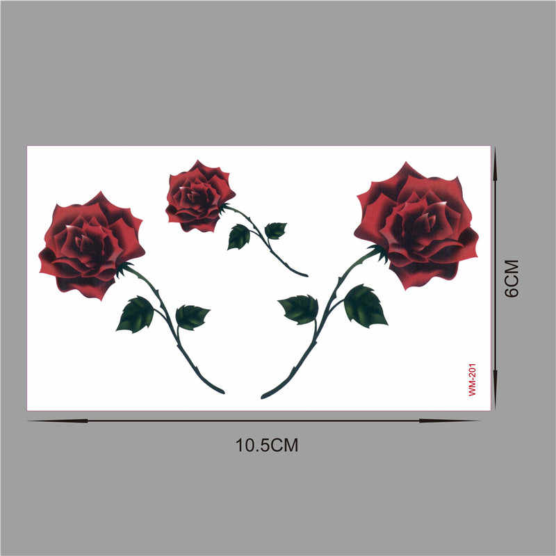 Red color Rose blossom flower brand new fashion waterproof temporary tattoo sticker tatoo tatto men women flash fake henna WM201