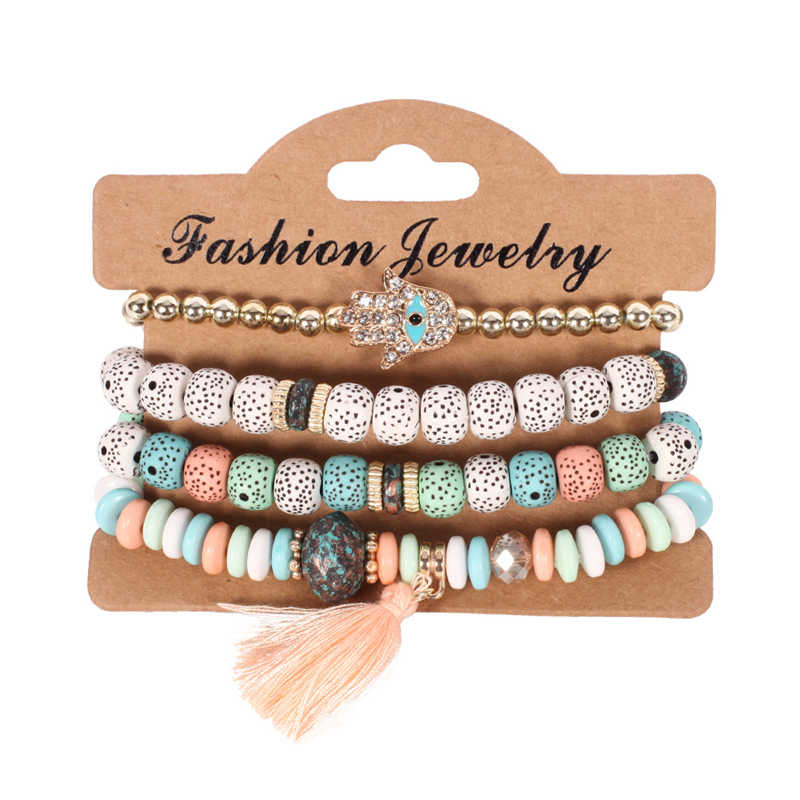2019 Fashion Vintage Ethnic Multilayer Big beads Bracelets Boho Statement Flower Bracelet Bangles For Women Summer Jewelry