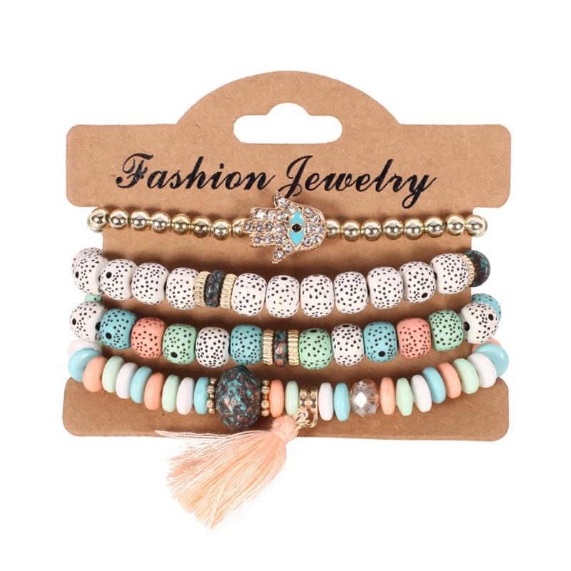 2018 Fashion Vintage Ethnic Multilayer Big beads Bracelets Boho Statement Flower Bracelet Bangles For Women Summer Jewelry