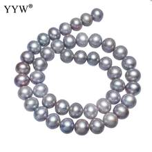 Cultured Potato Freshwater Pearl Beads Grey 10-11mm Approx 0.8mm Sold Per 15.7 Inch Strand(China)