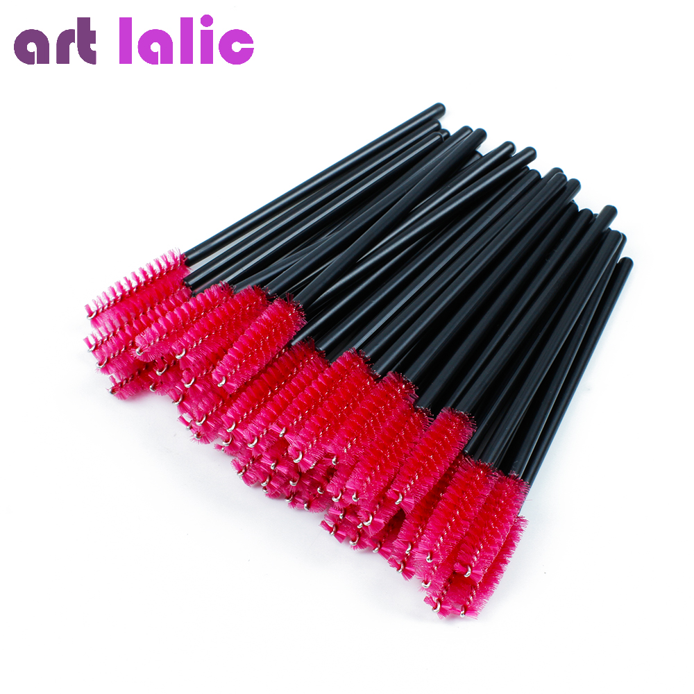 Artlalic 50 Pcs/bag Pink Color Disposable Eyelash Extension Brush Mascara Wands Applicator Makeup Cosmetic Tool